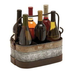 "Benzara - Galvanized Wine Holder with Six Compartments - Galvanized Wine Holder with Six Compartments. This metal Galvanized Wine holder combines form and function which makes it a wonderful addition to all kitchen setups. It comes with following dimensions: 14"" W x 8"" D x 6"" H."
