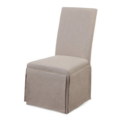 Bassett Mirror - Skirted Parsons Chair, Natural Linen - The Bassett Mirror Skirted Parsons Chair features hardwood legs, a fully skirted Jefferson linen fabric, and a high density foam seat cushion.