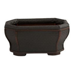 Nearly Natural - Shapely Planter - Classic dark look and long lasting. Delicate curves and sturdy feet. Made from wood and leather. Brown color. 13.75 in. L x 13.75 in. W x 6.75 in. HThis handsome planter give it an interesting appeal just perfect for some bright flowers or similar. Or use it to store magazines or similar - the possibilities are endless. Makes a thoughtful gift as well.