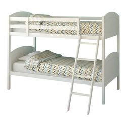 Sonax - Sonax CorLiving Concordia Solid Wood Twin Bunk Bed in White - Sonax - Bunk Beds - BCC518B - Stay organized by capitalizing on space with the bunk bed from CorLiving. The fresh white painted bed will enhance your child's bedroom decor with the simple arched styling. The Concordia Collection is not only good looking but is upgraded featuring 12 slats of support on each bed - No box spring is needed so you can place your mattress directly on the sturdy wood slats. Rest comfortably knowing you've invested in a solidly constructed bed from CorLiving.