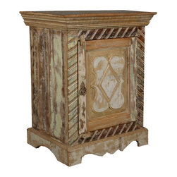 Dutch Provincial Reclaimed Wood Night Stand End Table Cabinet - Our Dutch Provincial Mini Cabinet has a rustic and antique look because it is built with reclaimed wood from Gujarat.