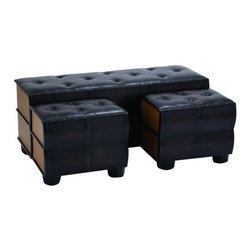 Benzara - Chic and Modern Bench Set of 3 and Comfort Leather - Chic and Modern Bench Set of 3 and Comfort Leather