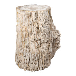 """Petrified Forests - Carnegie Petrified Wood Stool/Side Table - Each piece is 20 million years in the making. Petrified woods are essentially trees that time has very slowly turned to stone. Hand-selected from around the globe, your fossil piece is unique in shape with the colors reflecting minerals present during the petrification process. This limited resource is harvested sustainably, preserved eternally, and sure to increase in value. Petrified tree stumps are great for use indoors or out as stools or side tables and especially when grouped into a giant coffee table. This piece, like all of our pieces, is a completely unique piece of furniture.     Height: 19.5""""   Width: 16""""   Depth: 12""""    Weight: 204 lbs"""