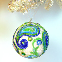 Beaded Christmas Ball, Paisley by Meredith Dada - We love the combination of chartreuse and blue in these handmade beaded ornaments. The paisley design is trendy and traditional at the same time.