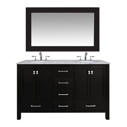 "Stufurhome - 60"" Malibu Espresso Double Sink Bathroom Vanity With 59"" Mirror - An ideal complement to a contemporary decor, the 60 Malibu Double Sink Vanity embodies the clean edges and sophistication of modern design. The rich espresso cabinet, made of solid oak lends a warm feeling to your bathroom that contrasts beautifully with the Carrara White Marble top. Sleek and simple stainless steel hardware dresses up the European soft-closing sliders and doors, which give you ample space to store your bathroom items."