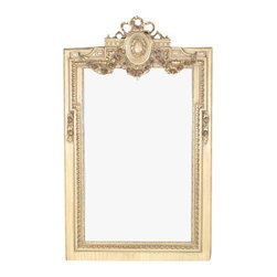 MBW Furniture - Consigned Antiqued White French Rectangular Mirror - This is a gorgeous 6ft French style reproduction rectangular mirror with frame. It features a large rectangular mirror that has a gorgeous and wide luxurious solid wood frame with antique white finish and it is richly embellished with gilded fancy fretwork around it and distinguished gilded floral and foliage carved arrangements on top with a unique pierced design and an oval accent with a lovely wreath on its center. This mirror can be used on a table or to hang on a wall. Hanging hardware is not included. It is a gorgeous mirror that will suit many home decors.