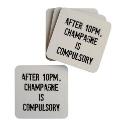Cool Culinaria - After 10pm, Champagne Is Compulsory Coasters (Set of 4) - Artwork adapted from an original 1923 Parisian menu. Set of four cork-back coasters with a wipe clean hard wearing gloss-finish surface. Made in USA.