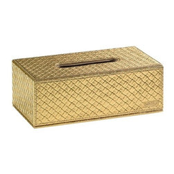 Gedy - Rectangle Faux Leather Tissue Box Cover, Gold - Stylish tissue box holder with magnetic bottom flap in gold, old silver or pearl white faux leather.