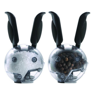 Chef'n - Mini Magnetic Salt & Pepper Grinder Set - Easily grind fresh salt and pepper over your meals with these adorable bunny mills. This Mini Magnetic Salt & Pepper Grinder Set has a ceramic grinder within each bunny, activated by its perky ears. Now you can have your fun AND salt and pepper, too!