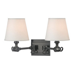 Hudson Valley Lighting - Hudson Valley Lighting 6232 Hillsdale 2 Light Double Wall Sconce - Versatile and attractive, Hillsdale combines the ingenuity of early-twentieth century task lighting with a smart decorative touch from the twenty-first. Vintage cast swivels give the sconces wide-range adjustability, while custom contemporary linen shades swath your space in soft ambient light.Dimensions: