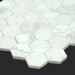 Bianco Carrara White Marble Carrera 2 Inch Honeycomb Mosaic - The Bianco Carrara collection or white Carrara Collection allows you to play with colors for your interior. Besides getting a lovely option of pure white on tile, this collection also features a white grey hue to try. With these two colors you can create a modern or classic looking theme in your home according to preference.