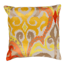 Surya Rugs - Golden Yellow and Poppy Red Polyester Filled 22 x 22  Pillow - - Liven up any space with this stylish design and colors of golden yellow and poppy red. This pillow has a polyester fill and zipper closure. Made in India with one hundred percent cotton, this pillow is durable and priced right  - Cleaning/Care: Blot. Dry Clean  - Filled Material: Polyester Filler Surya Rugs - AR072-2222P
