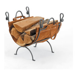 WOODFIELD - Woodfield Vintage Iron Log Rack With Leather Carrier - Woodfield Vintage Iron Log Rack With Leather Carrier