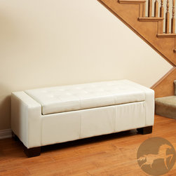 Christopher Knight Home - Christopher Knight Home Guernsey Ivory Bonded Leather Storage Ottoman Bench - Make the most of a small space with this trendy storage ottoman bench from Guernsey. Move the plush white cushion aside to reveal a hidden storage compartment ideal for keeping books, out-of-season clothing, and knick-knacks out of sight.