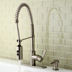 None - Satin Nickel Spiral Pull-down Kitchen Faucet - This pull-down kitchen faucet updates your kitchen with its modern look and function. The spout has 360-degree rotation, so you can easily move it out of the way for tall dishes. It also includes a spray head with two settings for convenience.