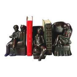 Bookworm Bookends - What We Like About the Bookworm BookendsStore your novel biography and poetry collections in these charming Bookworm Bookends. Constructed of polyresin the dark bronze tone will add warmth to any den or library. The lounging figures of children reading will please any book lover you know. If you just can't get enough of reading Bookworm Bookends are the set for you. Made in the USA. Dimensions: 14L x 7W x 8H inches.