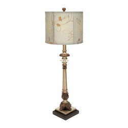 "Benzara - Metal Buffet Lamp with Beige Colored Shade - Metal buffet lamp with beige colored shade. Elegant in style and appearance, this metal buffet lamp is an excellent addition to your dining space. It comes with following dimensions 6"" W x 6"" D x 29"" H."