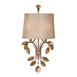 """Uttermost - Uttermost Alenya 2-Light Wall Sconce 4.25 x 11.625 x 22.125"""" - Burnished gold metal with golden teak crystal leaves and a silken champagne fabric shade with natural slubbing.Wattage: 60WDimensions: 4.25"""" depth by 11.625"""" width by 22.125"""" heightMaterial: metal/crystal/fabric"""