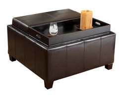 Great Deal Furniture - Plymouth Espresso Leather Tray Top Storage Ottoman - You want it all: A coffee table for when your friends come over. Storage to hide the magazines, books and assorted devices that roam the room. And you'd like to put your feet up when it's all said and done. This handsome leather ottoman opens into two trays on top, and offers ample storage space below. That said, your search is done.