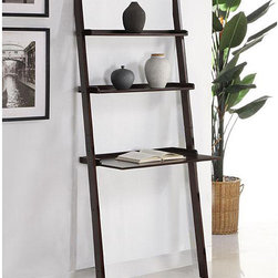 None - Walnut 3-tier Leaning Laptop Shelf - Make use of a small space with this brown leaning ladder shelf. The shelf fits snugly against the wall and can double as a laptop desk while the two smaller shelves provide storage. Shelves are composed of solid wood finished in a deep walnut color.