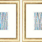 Paragon Decor - Aqua Sensations Set of 2 Artwork - Sensational abstracts in blue are matted in white and framed in modern gold.