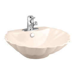 Renovators Supply - Vessel Sinks Bone 19'' W Venetian Shell Vessel Sink | 10814 - Vessel Sinks Above Counter: Made of Grade A vitreous China these sinks easily endure daily wear and tear. Our protective finish resists common household stains and makes it an EASY CLEAN wipe-off surface. Ergonomic and elegant easy reach design reduces daily strain placed on your body. SPACE-SAVING design maximizes limited bathroom space. Easy, above counter installation let's you select from many faucet styles and countertop designs, sold separately. Measures 19 inch W x 18 1/8 inch projection