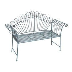 """Benzara - Metal Bench with Modern Or Conventional Style Decor - Metal Bench with modern or conventional style decor. This light blue color metal bench is an apt choice to flaunt in your lush garden or living room. It comes with following dimensions: 57"""" W x 18"""" D x 40"""" H."""