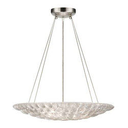 843240ST Pendant Constructivism - Pendant of individually cast Moonlit Mist clear glass pillow-shaped pieces, fused at high temperature in a hand-laid cobblestone pattern. The sole lenses create a fascinating light diffuser & sculptural form. Exposed metal in hand-applied silver leaf.