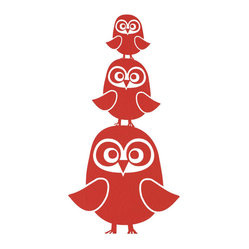 Three Owls Wall Sticker, Red