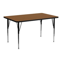 Flash Furniture - Flash Furniture 30 x 72 Rectangular Activity Table with 1.25 Inch Laminate Top - Flash Furniture's XU-A3072-REC-OAK-H-A-GG warp resistant high pressure laminate rectangular activity table features a 1.25'' top and a high pressure laminate work surface. This Rectangular high Pressure Laminate activity table provides an extremely durable (no mar, no burn, no stain) work surface that is versatile enough for everything from computers to projects or group lessons. Sturdy steel Legs adjust from 21.25'' - 30.25'' high and have a brilliant chrome finish. The 1.25'' thick particle board top also incorporates a protective underside backing sheet to prevent moisture absorption and warping. T-mold edge banding provides a durable and attractive edging enhancement that is certain to withstand the rigors of any classroom environment. Glides prevent wobbling and will keep your work surface level. This model is featured in a beautiful Oak finish that will enhance the beauty of any school setting. [XU-A3072-REC-OAK-H-A-GG]