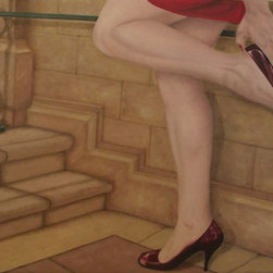 """Vanity Doesn't Learn, Original, Painting"" - Woman adjusting red pump shoes in public place. Can be purchased framed in black wood floater frame."