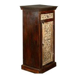 Winter Forest Hand Carved Old Wood Night Stand End Table Cabinet - You'll get a small cabinet and an end table all in one with our rustic Winter Forest End Table Cabinet. This smart design provides a small table top along with storage.