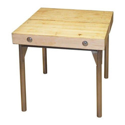 """Vintage Butcher Block Table with Steel Base - This vintage butcher block top comes from 3"""" maple flooring out of former automotive factory, circa 1940. Two similar pieces have been glued together, sanded and sealed to a satin, blond finish. Bolted to newly-constructed steel base with 2"""" diameter steel legs to make a square table that seats four. Use also as small appliance table in kitchen, computer table in study, lamp table in living room or on porch. Industrial style with high function."""