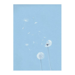 Dandelions Drawn with Charcoal and White pastel on Sky Blue Paper Print, 11.5x14 - Unique drawing on sky blue paper designed to match your serene decor in any room.
