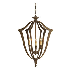 Currey and Company - Protocol Chandelier - Protocol, the contemporary rendition of a traditional form with a subtle Bronze Verdigris finish, is a winner in this small size. Its classic form makes a statement in any setting.