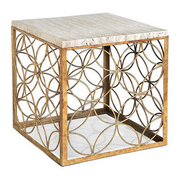 "Regina Andrew - Regina Andrew Furniture Gold Leaf Cube Table - Regina Andrew Designs marries vintage style with modern flair for a home collection that's truly timeless. Interlocking circles create a harmonious pattern to form the open, geometric design of the Cube table. Modern and graceful, its sleek stone tabletop perches above a gold-leaf base for a chic accent with subtle sparkle. Table measures 17"" Square x 17.5""H."