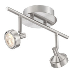 """ProTrack - Contemporary Pro-Track® Two-Light Brushed Steel LED Ceiling Light - Accent your home with LED lighting power from this Pro Track ceiling light fixture. The design features a brushed steel finish canopy and accents with two LED lights. Each light is fully adjustable and can be aimed as needed. Round faceplate accent. Each light is extend from Ceiling 5 1/8"""" 2 1/2"""" wide head. Round canopy is 5 1/8"""" D.  LED ceiling light.  3 watt LED in each light.  By Pro Track.  Brushed steel finish.  Light output 540 lumens.  Comparable to a 40 watt incandescent.   2700K color temperature.  12"""" long.  5 1/8"""" Extend from ceiling.  Round canopy is 5 1/8"""" D  Not dimmable.  Track head measures 2 1/2"""" length  X 2 1/2"""" wide."""