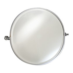 Afina - Afina Radiance Round Gear Tilt Mirror - 24 diam. in. - RM-820-CR - Shop for Bathroom Mirrors from Hayneedle.com! The Afina Radiance Round Gear Tilt Mirror is a classic mirror with excellent function. Featuring a gear-style tilt mechanism the mirror tilts to match your preferences. This oval mirror installs easily and is available in your choice of finish. About AfinaAfina Corporation is a manufacturer and importer of fine bath cabinetry lighting fixtures and decorative wall mirrors. Afina products are available in an extensive palette of colors and decorative styles to reflect the trends of a new millennium. Based in Paterson N.J. Afina is committed to providing fine products that will be an integral part of your unique bath environment.