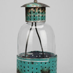 Reclaimed Metal Lantern - This lantern made from reclaimed metal looks like it has been used for years.