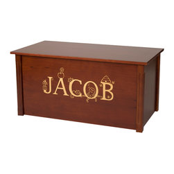 Educational Toy Box - WoodToyBox.com features all-wood toy boxes and blanket chests with optional laser engraved personalization.  The toy boxes also feature an optional cedar base for cedar chest applications.  Available in cherry, espresso, oak and bamboo.  Produced in Bismarck, ND USA
