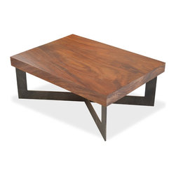 "Rotsen Furniture - Solid Wood Tamburil Slab Coffee Table - Metal Base - Dimensions: 35""L x 26""D x 14""H"