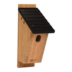Nature's Way - Bamboo Bluebird Peterson House - Peterson-style Bluebird House is made of solid cross-ply bamboo and stainless steel screws. This house features extra air vents, clean-out doors, elevated mesh floor, predator guard, fledgling skerfs, and a 13/8 x 2 entry hole.