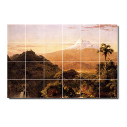 Picture-Tiles, LLC - South American Landscape Tile Mural By Frederic Church - * MURAL SIZE: 48x72 inch tile mural using (24) 12x12 ceramic tiles-satin finish.