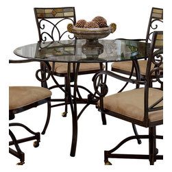"Hillsdale Furniture - Hillsdale Pompei Metal 48x48 Round Dining Table - Our unique Pompei dining group features an intricate and interesting solid slate design in the chair and around the table edge. A graceful scrolled silhouette drawers your eye to the lovely and colorful motif. Large 48"" glass top leaves ample room for comfortable dining. Our Pompei collection of occasional tables are not just your everyday display tables. Fascinating to the decorator's eye, with elegantly sculpted metal bases, and a stunning addition to your home decor, with interesting and colorful slate accents, this collection of occasional tables is sure to inspire the creativity in you as well as the envy of your house guests."