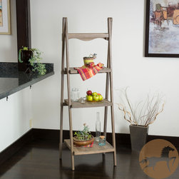 Christopher Knight Home - Christopher Knight Home Mabel Sandblast Finish Three Tier Ladder Shelf - The Mabel wood ladder shelf exudes soft, vintage inspired elements. Built from hardwood, this piece has a sandblast rustic finish and stands on matching easel legs.