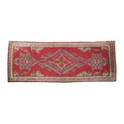 A 19th Century Turkish Oushak Wool Rug - A 19th Century Turkish Oushak Wool Rug in tones of red, green, blue and gray