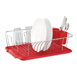 None - Large Metal Wire Dish Rack with Drain Board - Perfect for organizing and drying your dishes,this metal dish rack will make your life easier. The chrome plated rack also includes a silverware holder.