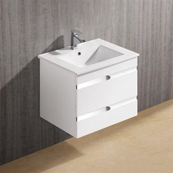"""Vigo Industries - Vigo 24"""" Ethereal-Duece Single Bathroom Vanity - White Gloss - Features: Vigo Ethereal is a wall mounted white gloss contemporary style vanity with a white ceramic single-hole sink This art nouveau inspired vanity has two stylish drawers with soft closing hardware Features artistic chrome pull accents This vanity is a stunning focal point to any bathroom Cabinet is made from a solid engineered wood with white gloss finish, which consists of an anti-scratch paint surface for enhanced durability and frequent use Contains one white, top-mount ceramic sink with a single hole for a faucet Cabinet is shipped assembled Vanity is fabricated for wall mount installation with all mounting hardware included Solid brass, chrome-plated drain assembly included 5 Year Limited Warranty Cabinet measures (Including sink): H - 20 1/2"""" W - 24"""" D - 18 3/8"""" How to handle your counter View Spec Sheet"""