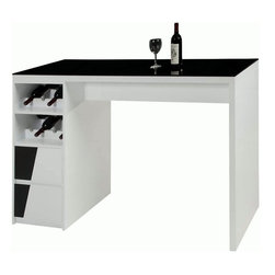 Chintaly Imports - Fulton Black Glass Bar with Drawers and Wine Storage - This is a modern style home bar. It has a black tempered glass top and is finished in melamine White high gloss. It has 2 drawers for storage and 2 wine rack shelves which can store up to 8 bottles. Its design is sleek and clean, perfect for any decor