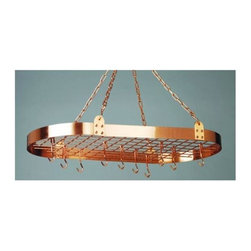 Old Dutch International - 36 in. Pot Rack in Satin Copper - Hanging pot rack. Made from sturdy copper plated steel. Oval shape. 36 in. L x 18.25 in. W x 3.5 in. H (13 lbs.). Includes grid, twelve hanging hooks, chains and mounting hardware